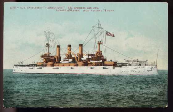USS Connecticut-another postcard with similar artwork to my find.