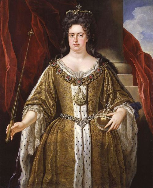Queen Anne near the end of her life from http://en.wikipedia.org/wiki/Anne,_Queen_of_Great_Britain#mediaviewer/File:Queen_Anne_by_John_Closterman.jpg