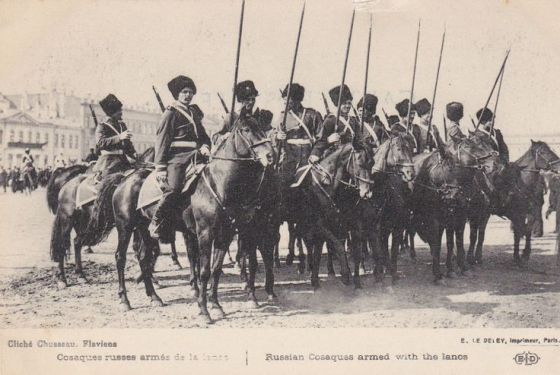 Russian Cossacks WW1. In 1914 the cavalry of many nations were still armed with lances.