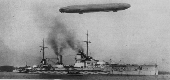 A Zeppelin over the SMS Seydlitz, c.1914
