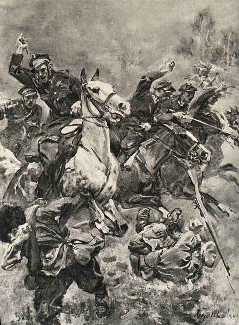 Polish Cavalry over run Bolshevik infantry in the 1920 war.