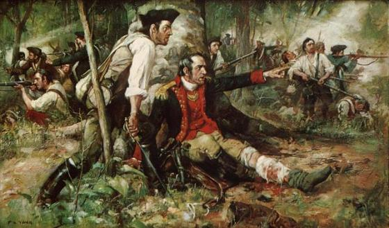 New York militia gather around their wounded General at the Battle of Oriskany.http://www.redstate.com/2013/02/01/reflections-on-the-american-revolution-the-militia/
