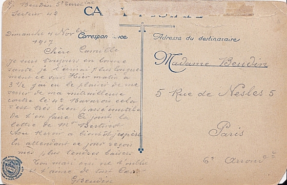A French soldier sends a postcard to his sweetheart in Paris.