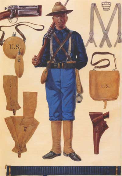 The uniform of American soldiers in the Spanish-American War of 1898.