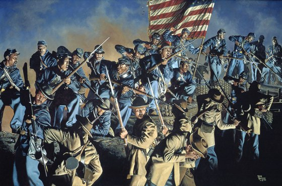 54th Massachusetts storming the works of Battery Wagner