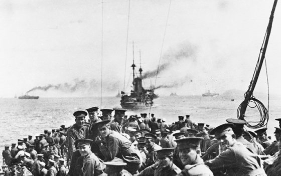 Men of the 11th battalion and 1st Field Company, Australian Engineers, assembled on the forecastle of HMS London at sea off Lemnos, 24 April 1915. The next morning they would leave the London to land on North Beach, Gallipoli. Australian War Memorial A02468. http://www.nma.gov.au/online_features/defining_moments/featured/gallipoli_landing