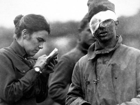 Wounds are often horrific from any war and the INET provides numerous examples of the type suffered in WW1. This picture is mild and shows a Salvation Army worker helping a soldier with a head wound. He may be a lucky one if they send him home.
