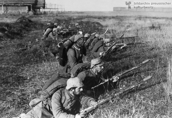 The Germans won a huge victory over the Russians at Tannenberg, East Prussia in 1914 and by 1917 the Czarist government was falling.