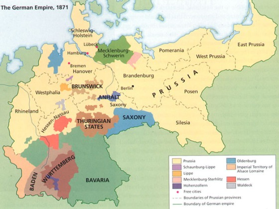 "Source: The term ""Prussia"" is a little misleading. Many German States were ""Prussian"" including Pomerania. http://www.atsnotes.com/other/germany-1870.JPG"