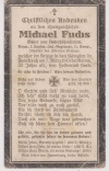 Private Michael Fuchs, Bavarian Death Card, 1915